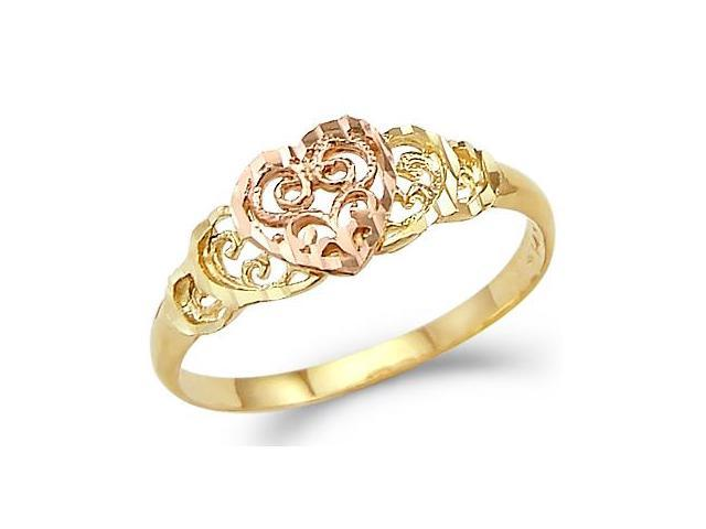 Heart Ring 14k Rose Yellow Gold Right Hand Band