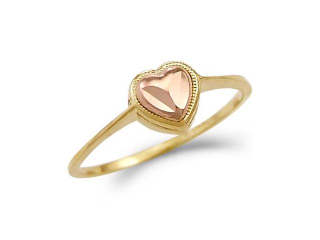 Heart Ring 14k Yellow & Rose Gold Band Womens Fashion