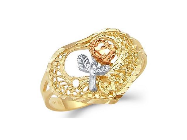 Rose Flower Heart Ring 14k Yellow Gold Band