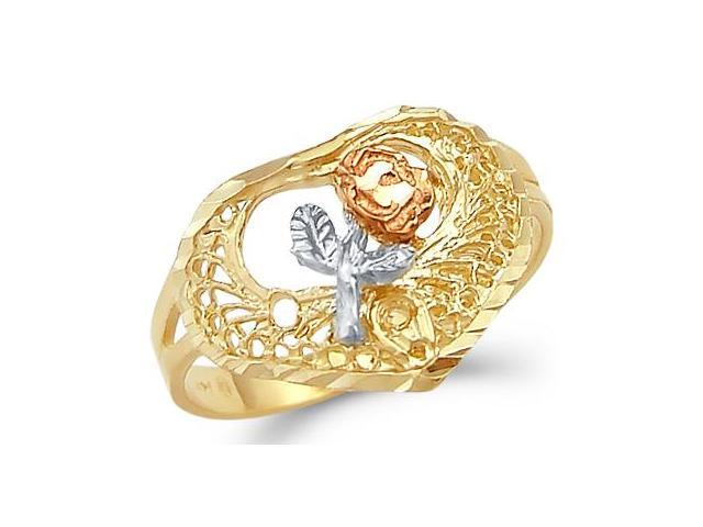 Rose Flower Heart Ring 14k Yellow Gold Band