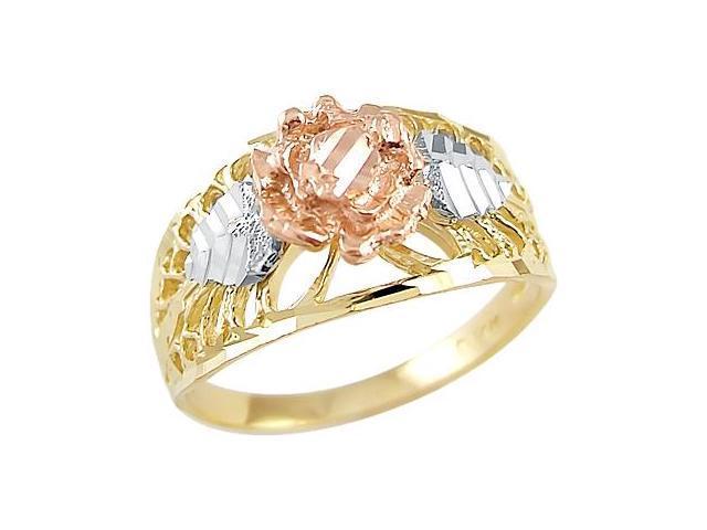 Flower Ring 14k Yellow White Rose Gold Fashion Band