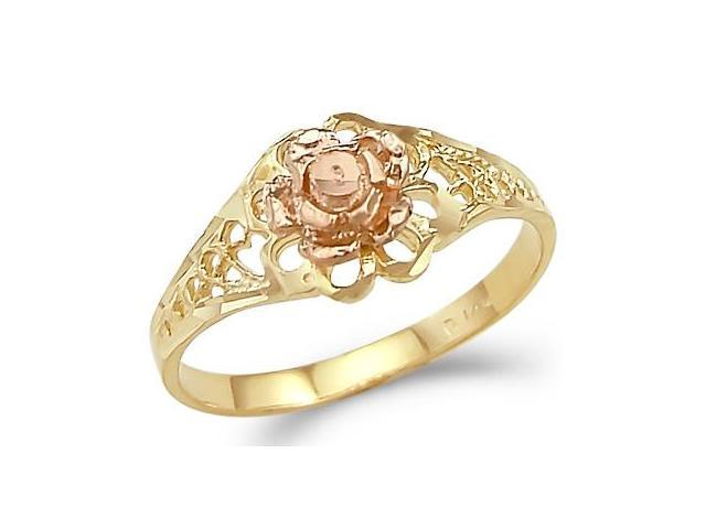 Flower Ring 14k Yellow Rose Gold Band Two Tone