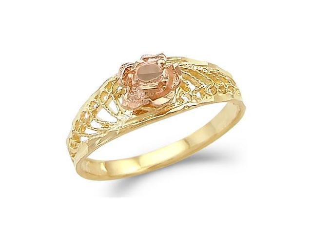 Flower Ring 14k Rose Yellow Gold Band Ladies