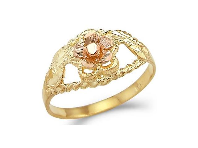 Anniversary Flower Ring 14k Rose Yellow Gold Band