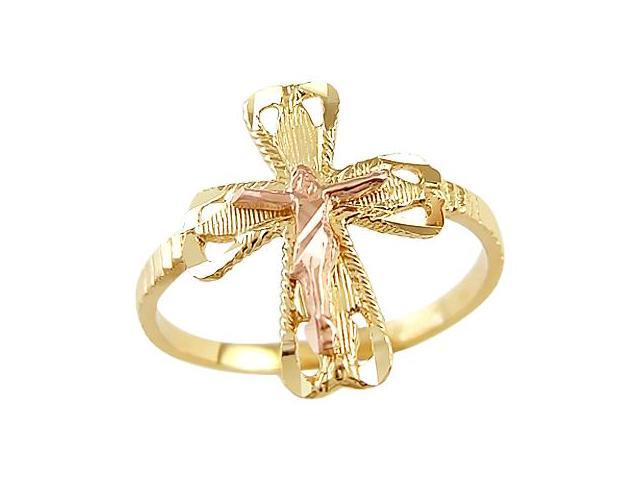 Crucifix Cross Ring 14k Rose Gold Yellow Gold Religious Band