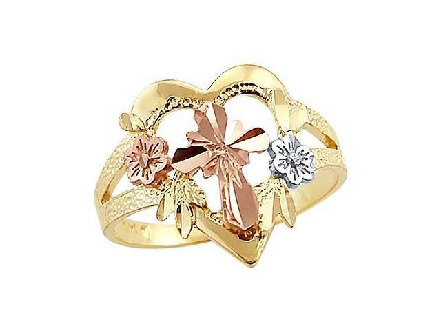 Heart Flowers Cross Ring 14k Rose White Yellow Gold Band