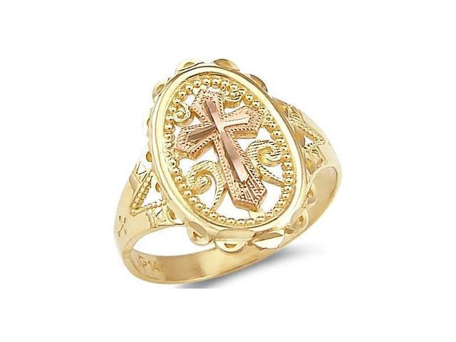 Cross Ring 14k Rose Yellow Gold Fashion Band Milgrain
