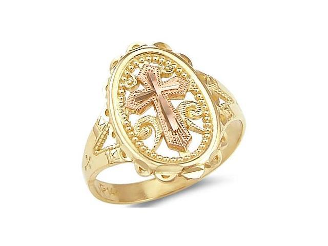 Cross Ring 14k Rose Yellow Gold Fashion Band Milgrain