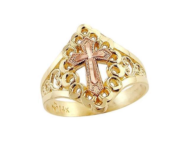 Cross Ring 14k Rose Yellow Gold Fashion Milgrain Band