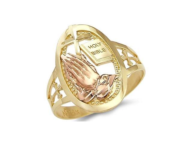 Holy Bible Praying Hands Ring 14k Yellow Gold Religious Band
