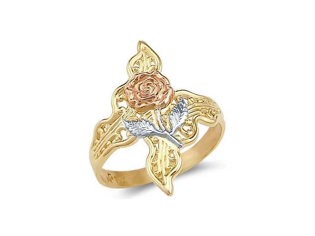 Leaf Rose Flower Ring 14k White Yellow Gold Band
