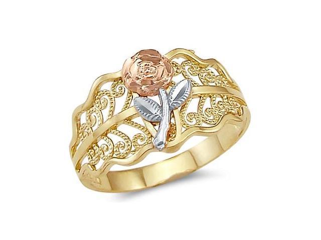 Rose Flower Leaf Ring 14k Rose White Yellow Gold Band