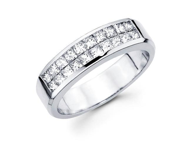 Princess Diamond Anniversary Ring 14k White Gold Wedding Band (0.84ct)