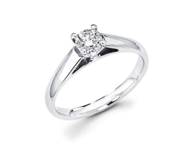 Round Solitaire Diamond Engagement Ring 14k White Gold (0.40 Carat)