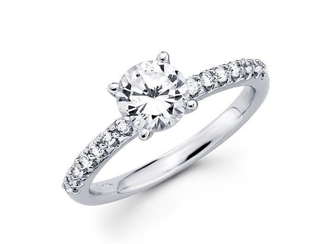 Semi Mount Round Diamond Engagement Ring 14k White Gold Setting 1/4 CT