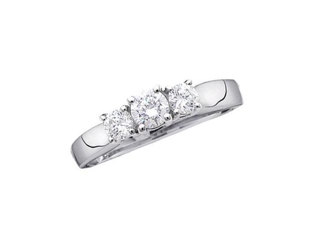 Three Stone Round Diamond Ring 14k White Gold Womens (0.25 Carat)