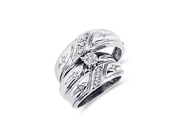 Diamond Engagement Rings Set Wedding Bands White Gold Men Ladies .14ct