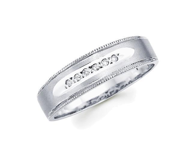 Men's Diamond Wedding Ring 14k White Gold Band (0.05 Carat)