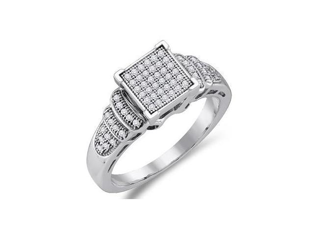 Diamond Anniversary Ring 10k White Gold Bridal Micro Pave (1/4 Carat)