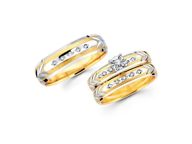 Diamond Engagement Ring & Wedding Bands Set 14k Yellow Gold (0.18 CT)