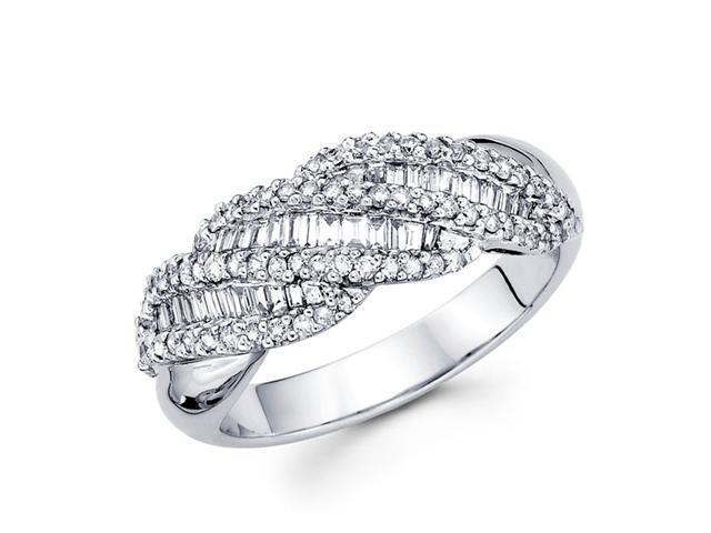 Diamond Anniversary Ring 14k White Gold Fancy Fashion Band (0.55 CTW)