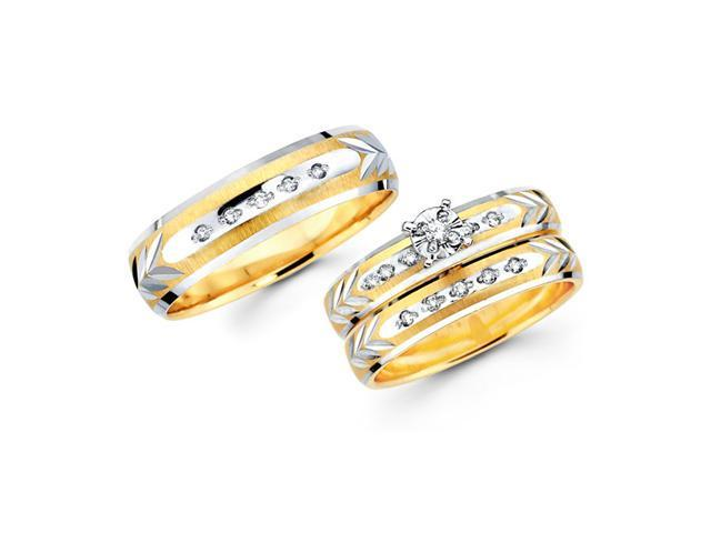 Diamond Engagement Ring & Wedding Bands Set 14k Yellow Gold (0.18 CT)