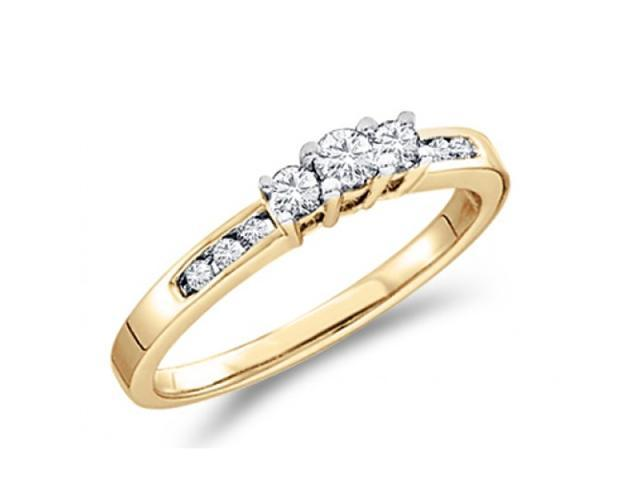 Three Stone Diamond Ring 14k Yellow Gold Engagement (0.26 Carat)