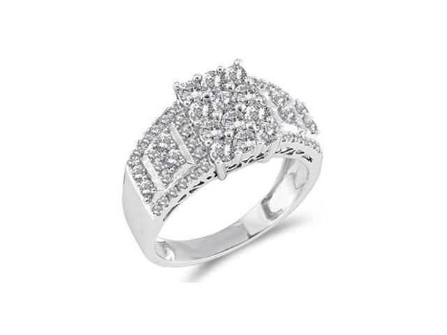 Womens Diamond Engagement Ring 14k White Gold Bridal (1.00 Carat)