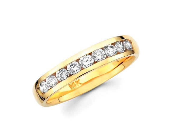 Channel Set Round Diamond Wedding Ring 14k Yellow Gold Band (1/2 CTW)