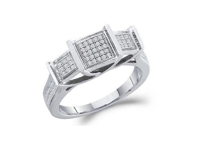 Diamond Three Stone Style Ring 10k White Gold Bridal (1/5 Carat)