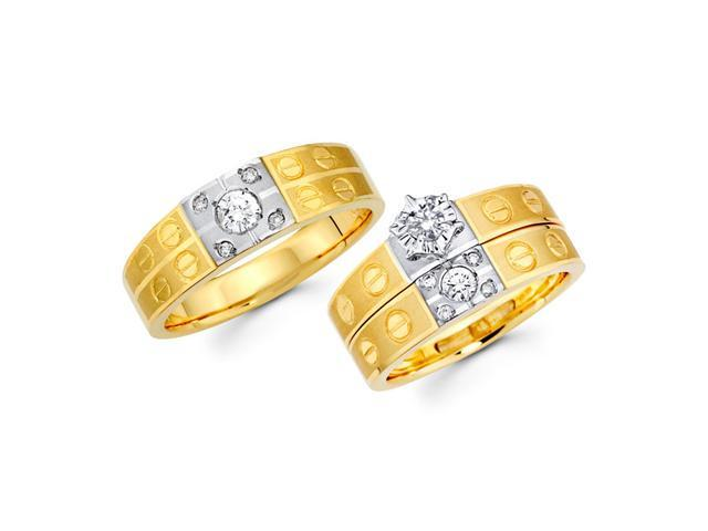 Diamond Engagement Rings Set & Wedding Bands 14k Yellow Gold (0.44 CT)