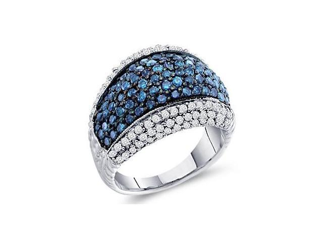 Aqua Blue Diamond Ring 10k White Gold Anniversary Band (1.75 Carat)