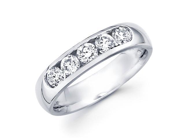 Round Diamond Wedding Band 14k White Gold Anniversary Ring (3/4 Carat)