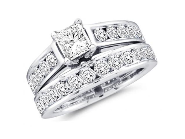 Diamond Engagement Ring and Wedding Band Bridal Set White Gold 1.00 ct