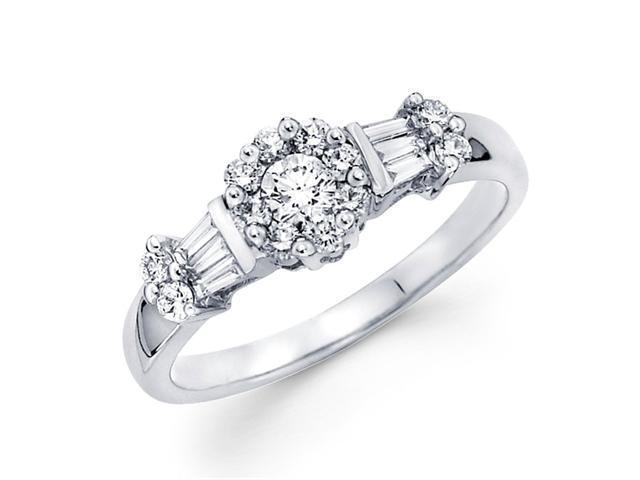Diamond Anniversary Ring 18k White Gold Bridal Womens Engagement 1/2ct