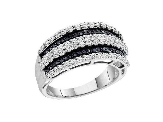 Black Diamond Band 14k White Gold Womens Anniversary Ring (0.83 Carat)