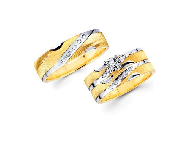 Diamond Engagement Ring & Wedding Bands Set 14k Yellow Gold (0.18 CTW)