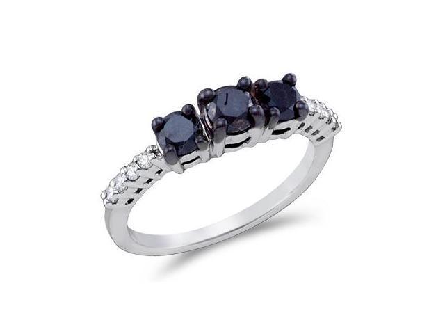 Black & White Diamond Three Stone Ring 10k White Gold Bridal (1.06 CT)