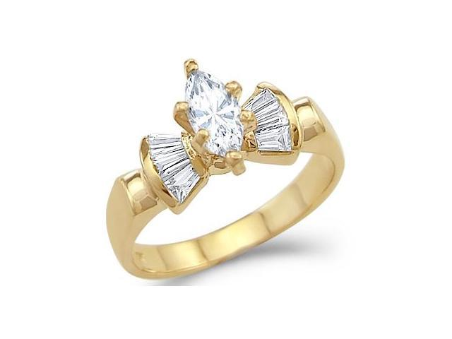 CZ Marquise Solitaire Engagement Ring 14k Yellow Gold (1.25 Carat)