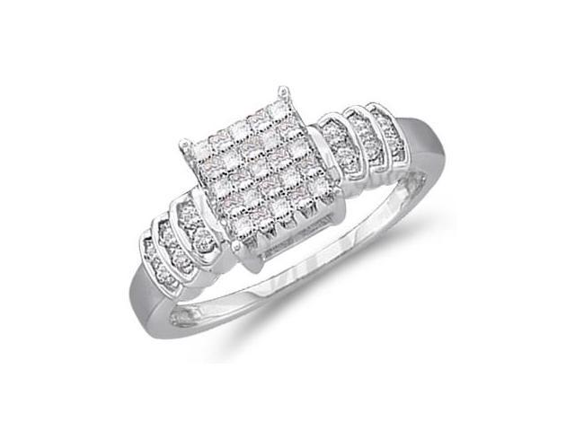 Princess Diamond Engagement Ring 14k White Gold Bridal (1/3 Carat)