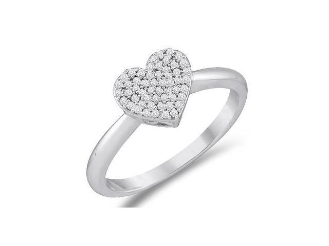 Diamond Heart Ring 10k White Gold Anniversary Bridal (0.15 Carat)