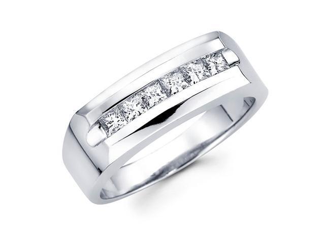 Mens Channel Set Diamond Anniversary Ring 14k White Gold Band (3/4 CT)