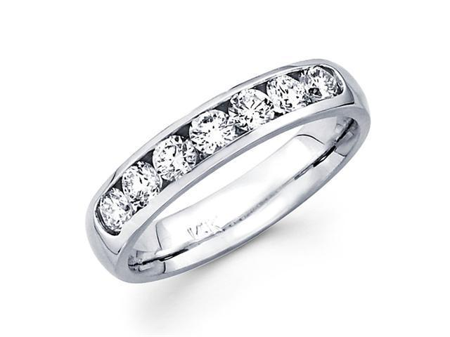 Channel Set Round Diamond Wedding Band 14k White Gold Ring (3/4 Carat)