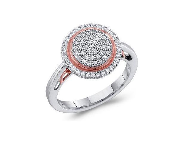 Diamond Ring Fashion Round 10k White Rose Gold (1/4 Carat)