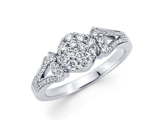 Round Diamond Anniversary Ring 18k White Gold Fancy Bridal (0.43 CTW)