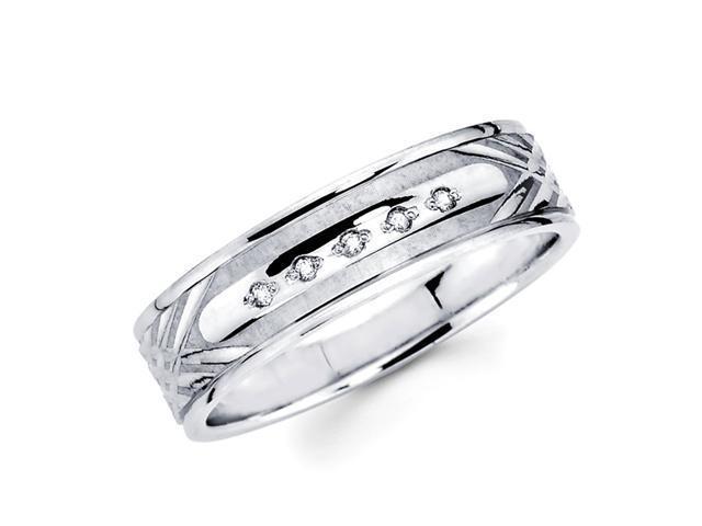 Men's Diamond Wedding Ring 14k White Gold Band (0.05 Carat)