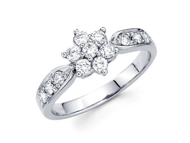 Round Diamond Anniversary Flower Ring 14k White Gold Fashion (0.60 CT)