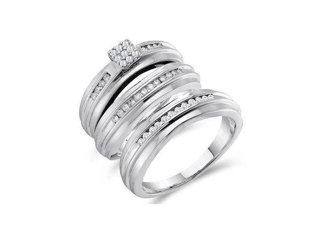 Diamond Engagement Ring & Wedding Bands 14k White Gold Bridal (.40 CT)