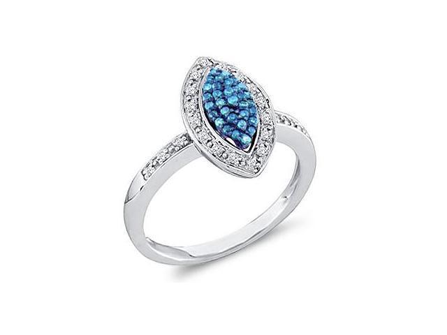 Blue Aqua Diamond Ring 10k White Gold Anniversary Cocktail (1/4 Carat)