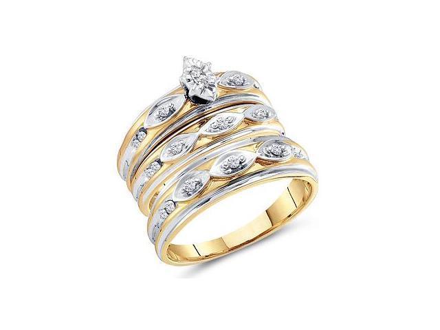 Diamond Engagement Rings Set Wedding Multi-Tone Gold Men Ladies .30 CT